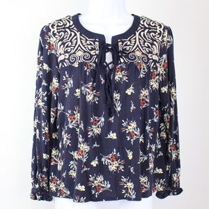 One September | Embroidered Floral Lace Up Blouse
